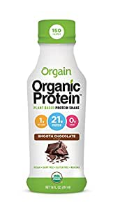 Orgain Organic 21g Plant Based Protein Shake, Smooth Chocolate, 14 Ounce, 12 Count