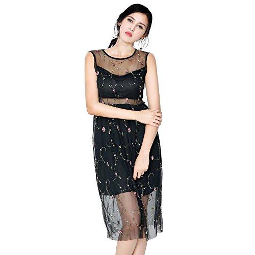 Women Sheer Tulle Sleeveless One Piece Black Dress