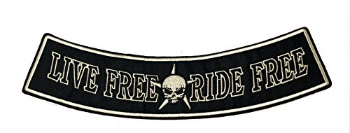 Live Free Ride Free Embroidered Large Jacket Back Patch Motorcycle Club Biker Series Vests Ghost Skull Hog Outlaw Rocker Jumbo Iron or Sew-on Emblem Badge Appliques Application Fabric Patches ()