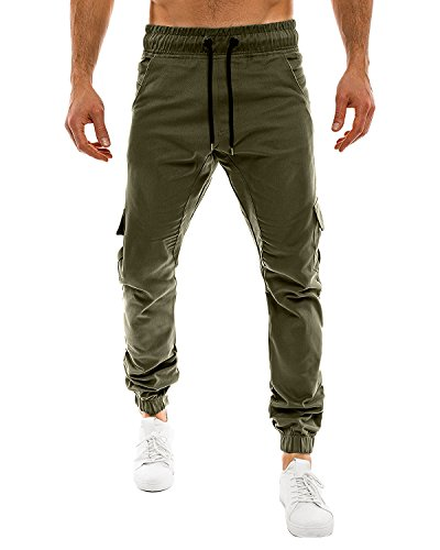 MODCHOK Men's Casual Outdoor Chinos Slim Fit Sweat Pants Sports Jogger Trousers Army Green XL