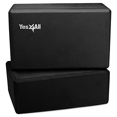 Yes4All Yoga Brick / Yoga Block 9x6x4 for Exercise, Pilates, Workout, Fitness & Gym – Eco Friendly Yoga Block / Yoga Foam Block (set of 2, Black)