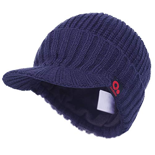 Janey&Rubbins Fall Winter Visor Beanie - Fleece Lined Knit Hat with Brim - Solid Newsboy Cap (Blue)