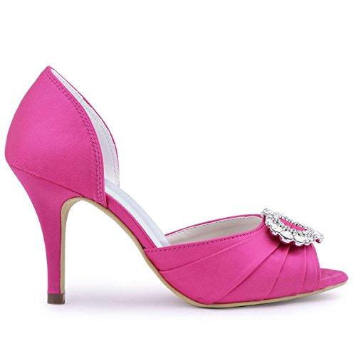 A2136 Strass Promenade Rosa Tallone Donne Dell'alto Di Delle Elegantpark Peep Increspato Toe Pompe Raso Sera Caldo 5XH5q6Pw