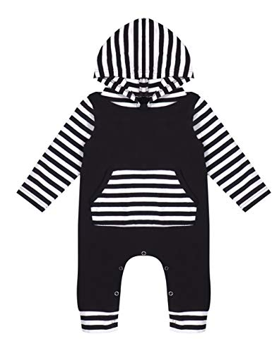 (Newborn Baby Boys Outfit Long Sleeve Rompers Black and White Striped Hoodie Jumpsuit Clothes Set (Black, 6-9M))