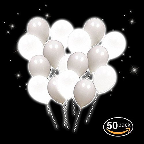 50 Pack 12 inch White LED lights Balloons for Wedding Event Birthday Party Easter Christmas Decorations Festive Party Supplies (Led White Balloons)