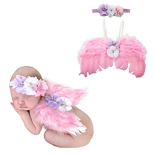 Acecharming Newborn Baby Angel Feather Wings Photography Outfit Props With Headband (Angel Wings Photography Props)