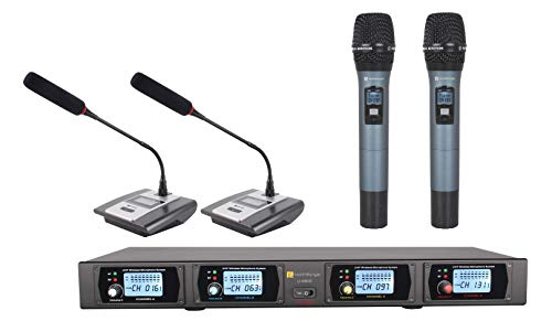 (Martin Ranger 900MHz UHF 4-Channel Modules Wireless Microphone System with 2 Handheld Microphone and 2 Table Microphone)
