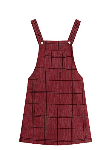 Floerns Women's Cute Strap Button up Corduroy Overall Sheath Pinafore Dress Red L