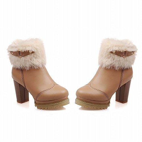 Carolbar Donna Fibbia Cerniera Faux Fur Neve Inverno Eleganza Moda Tacco Alto Tacco Corto Abito Stivali Giallo