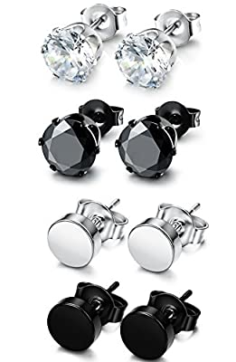 FUNRUN JEWELRY 4-6 Pairs Stainless Steel Stud Earrings for Men Women CZ Round Earrings Black 3-8mm