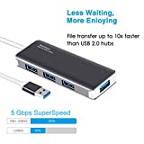 USB 3.0 Hub RSHTECH 4 Port High Speed Data Hub Transfer Rate 5 Gbps Portable Ultra Slim for MacBook Mac Pro iMac Surface Pro XPS Notebook PCs and More (Grey)