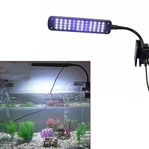 DBPOWER - Flexo con pinza para acuario (48 ledes de luz blanca y azul, 3 modos, brazo ajustable)