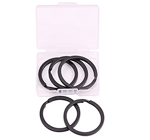 Shapenty 35mm/1.38 Inch Black Metal Flat Split Key Chain Rings Connector Circular Keyring Holder for Home Car Keys Organization and Name Tag Attachment (Black, (Black Cable Key Ring)