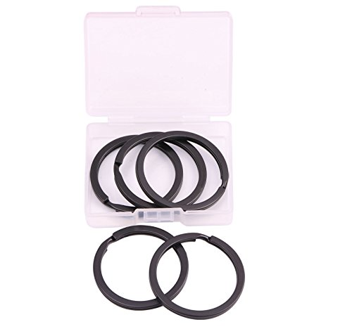 (Shapenty 35mm/1.38 Inch Black Metal Flat Split Key Chain Rings Connector Circular Keyring Holder for Home Car Keys Organization and Name Tag Attachment (Black, 5PCS/Box))