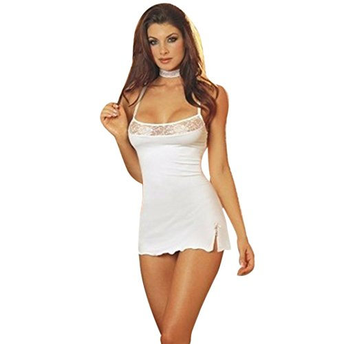 Women Lingerie Dress,Napoo Sexy Lace Lingerie Dress Babydoll Solid Camis Nightwear (M, White)