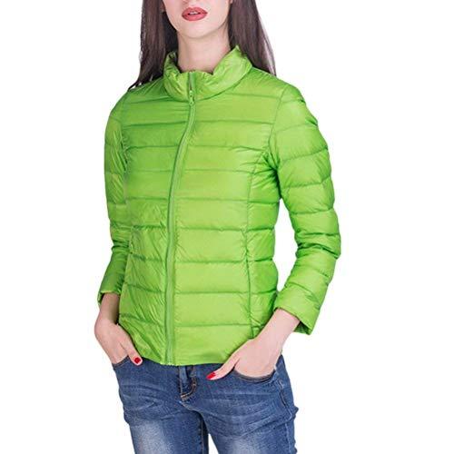Plumas Mujer Otoño Invierno Ligeros Empacable Pluma Manga Larga Modernas Slim Fit Stand Cuello Chaqueta De Temporada Outwear Talla Grande Verde