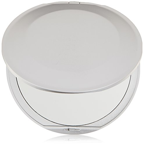 Silver Round Compact Mirror - Swissco Round Compact Mirror(Silver or Black), Extra Flat, 4 Inches, 1x/5x
