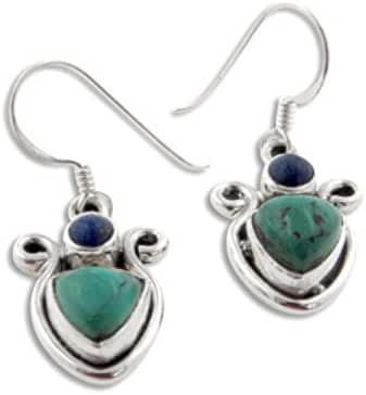 Genuine Green Turquoise Triangles and Blue Lapis Lazuli Sterling Silver Hook Earrings