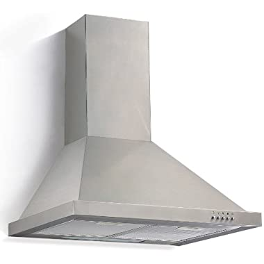 Ancona Pyramid with Rim Stainless Steel 450 CFM Wall Mount Range Hood, 30-Inch