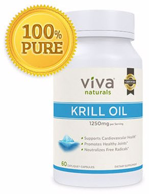 Viva Naturals Krill Oil: 100 Percent Pure Cold Pressed Antarctic Krill Oil , 1250 milligram/serving, 60 Caps, Pack of 2
