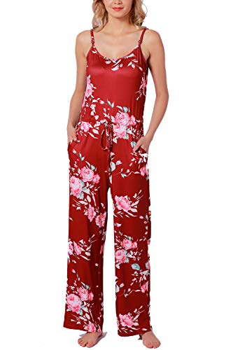 NEWCOSPLAY Women's Floral Print Jumpsuit Halter Sleeveless Stretch Wide Long Pants Casual Jumpsuit Rompers (S, Wine red) by NEWCOSPLAY