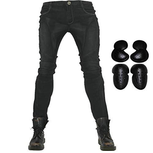 Summer Mesh Motorcycle Riding Jeans With Armor Motocross Racing Slim Stretch Pants (L=32, Black)