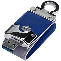 Perman USB 3.0 Flash Drive, Business Leather Memory Stick U Disk Blue/ 128GB
