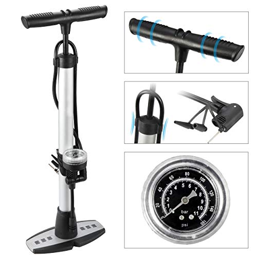 F2C 160 PSI Bike Floor Pump with Gauge, Fits Presta Schrader Dunlop Types Dual Valve Bicycle Air Pump, Includes 1 Sport Ball Needle & 2 Inflatable Cone (Best Dual Sport Bicycle For The Money)