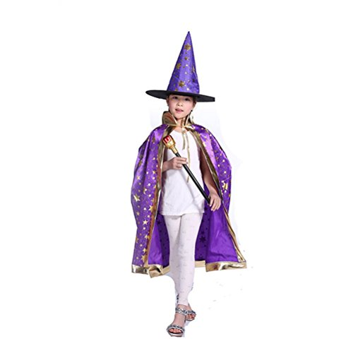 LUOEM Children Role Play Costumes Witch Cape with Hat Halloween Dressing Set (Purple) - Witch Costumes Set