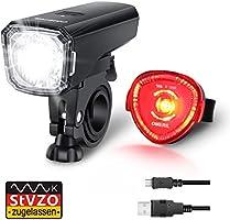 Fahrradlicht Set, OMERIL Fahrrad Licht StVZO Zugelassen Fahrradbeleuchtung LED Wasserdicht USB Aufladbar Fahrradlichter...
