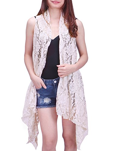 Crocheted Duster - HDE Womens Open Front Lace Cardigan Sleeveless Asymmetric Drape Hem Vest Coverup (Cream, XL-2X)