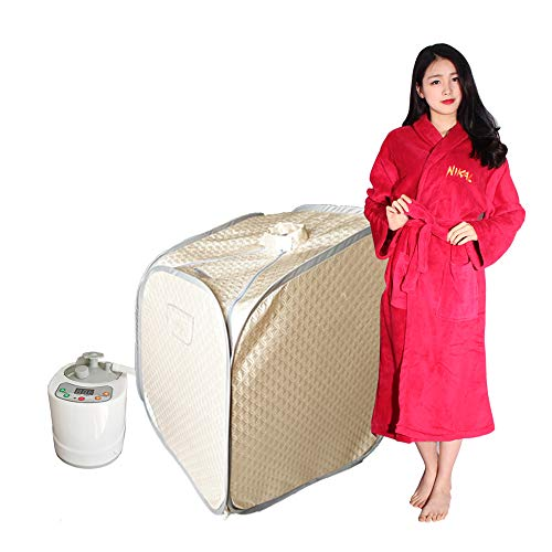 Smartmak Portable Steam Sauna, Health eco-Friendly with Remote Control, one Person Full Body Spa at Home Tent for Detox & Weight Loss(US Plug)- Champagne