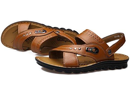 2017 nuevas sandalias de la playa de los hombres, zapatillas de cuero del zurriago de los zapatos transpirables Yellow