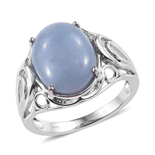 Shop LC Delivering Joy Oval Angelite Solitaire Ring for Women Jewelry Gift Size 7