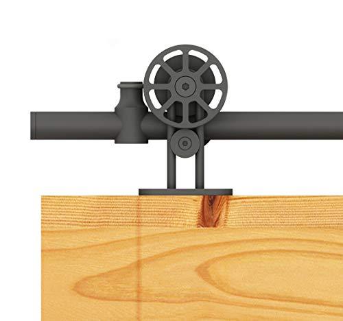 DIYHD 5.5FT Black Tubular Sliding Barn Door Hardware Top Mount Spoke Wheel Fit Door Width Up to 33