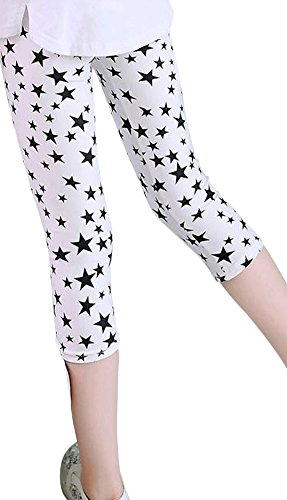BogiWell Kids Girls Flower Printed Capris Leggings Tights Cropped Pants Type B(US 7-8Y,Tag 140) (7 Cropped)