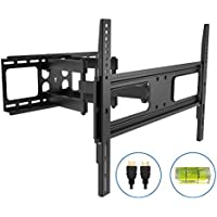 Articulating TV Wall Mount with 6ft HDMI Cable(05422A)Full-Motion TV Stand Bracket for 37-80LED LCD TV Flat Screen VESA up to 600x400,-20°~+10°Tilt,-60°~+60°Swivel,Max Load 110lbs.Power by ProH