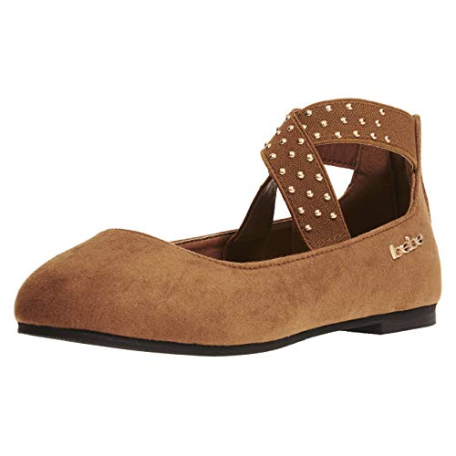 Girls Flats Size 13 Round Toe with Studs on Elastic Ankle Straps Slip-On Shoes Flexible Microsuede Summer Dress Mary Jane Sandals Cognac/Gold by bebe