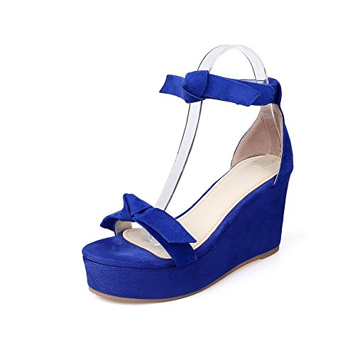 AllhqFashion Women's Open Toe Hook-and-loop Frosted Solid High-Heels Sandals Blue fMJ0RA