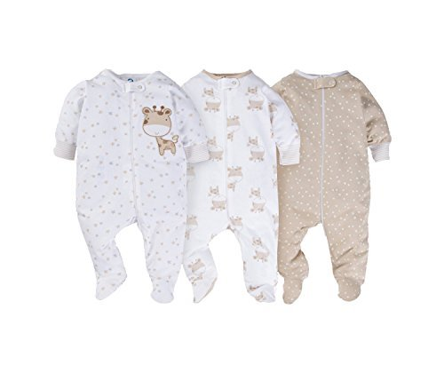 be5b8a46e Galleon - Gerber Onesies Baby Boy Sleep N Play Sleepers 3 Pack (0-3 Months,  Giraffe)