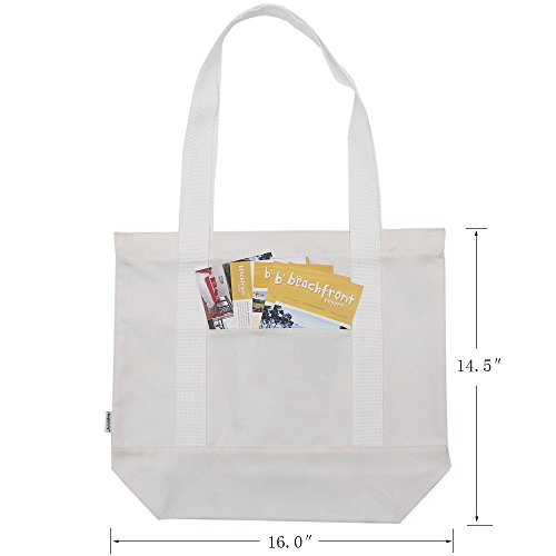 Outer Bag Duty 2 Heavy Zipper M Grocery 100 White pack Augbunny Shoulder Tote Cotton Canvas Beach With Pocket Hqxv747