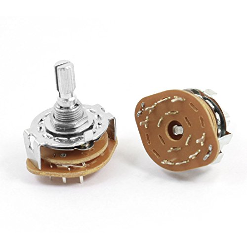 uxcell 2 Pcs 6mm Knurled Shaft Band Rotary Switch 2P4T 2 Pole 4 Position