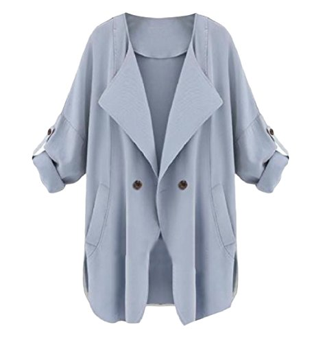 Casual Womens Blue Light Down Double Breasted Mogogo Turn Collar Dust Coat qRndP5dxTw