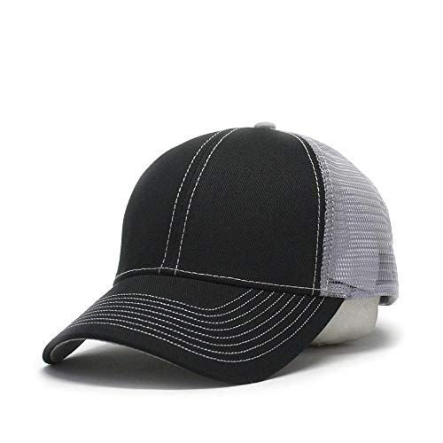 Vintage Year Plain Cotton Twill Mesh Adjustable Trucker Baseball Cap (Black/Black/Gray) ()