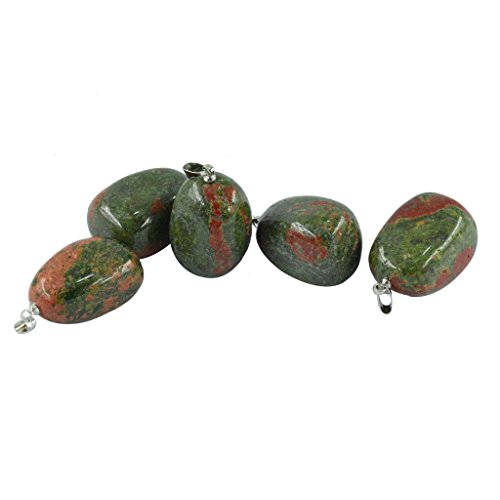 (5 Pcs Stone Beads Semi-Precious Gemstones Quartz Crystal 20-30MM Charms DIY Beads Bulk for Jewelry Making - Green Unakite Jasper)