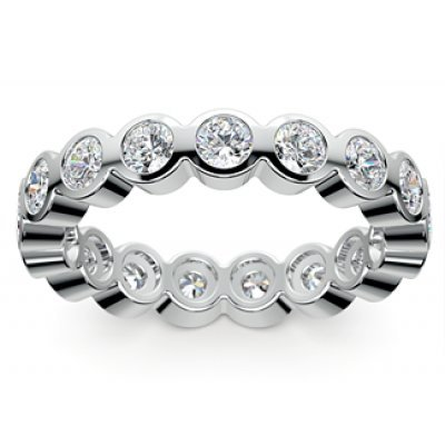 2.50 ct Bezel Set Round Cut Diamond Eternity Wedding Band Ring in 14 kt White Gold In Size 7 ()