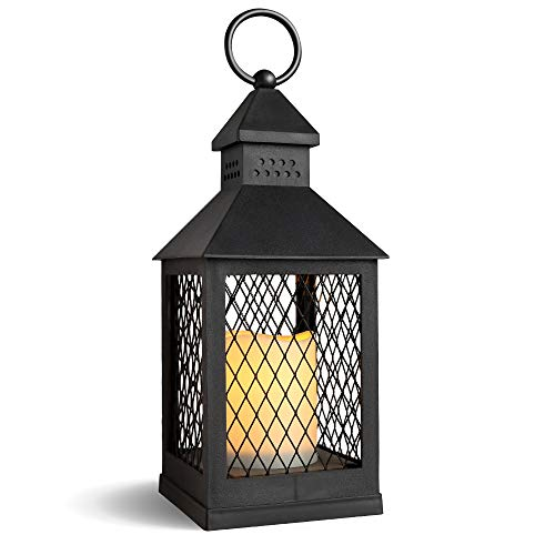 DRomance Decorative Candle Lantern with 6 Hour Timer Battery Operated Flameless Flickering Candles, 3-Way Switch Heat Resistant Hanging LED Pillar Candle Lantern Outdoor Indoor Decor(Black, 4″x4″x11″)