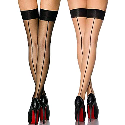 (Vintage Nylon Thigh High Stockings with Back Seam for Women Suspender Garter Belts,(2 Pack))