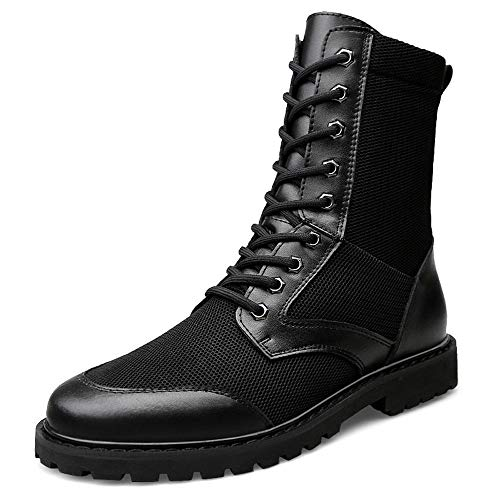YYIN Men's Summer Breathable Tactical Military Boots Ultra Light Shock High Boots Anti-Slip Work Hiking Boot (Color : Black, Size : 43)