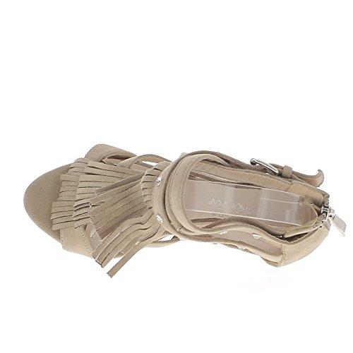 Sandales beiges à franges talon fin de 11cm et plateforme aspect daim